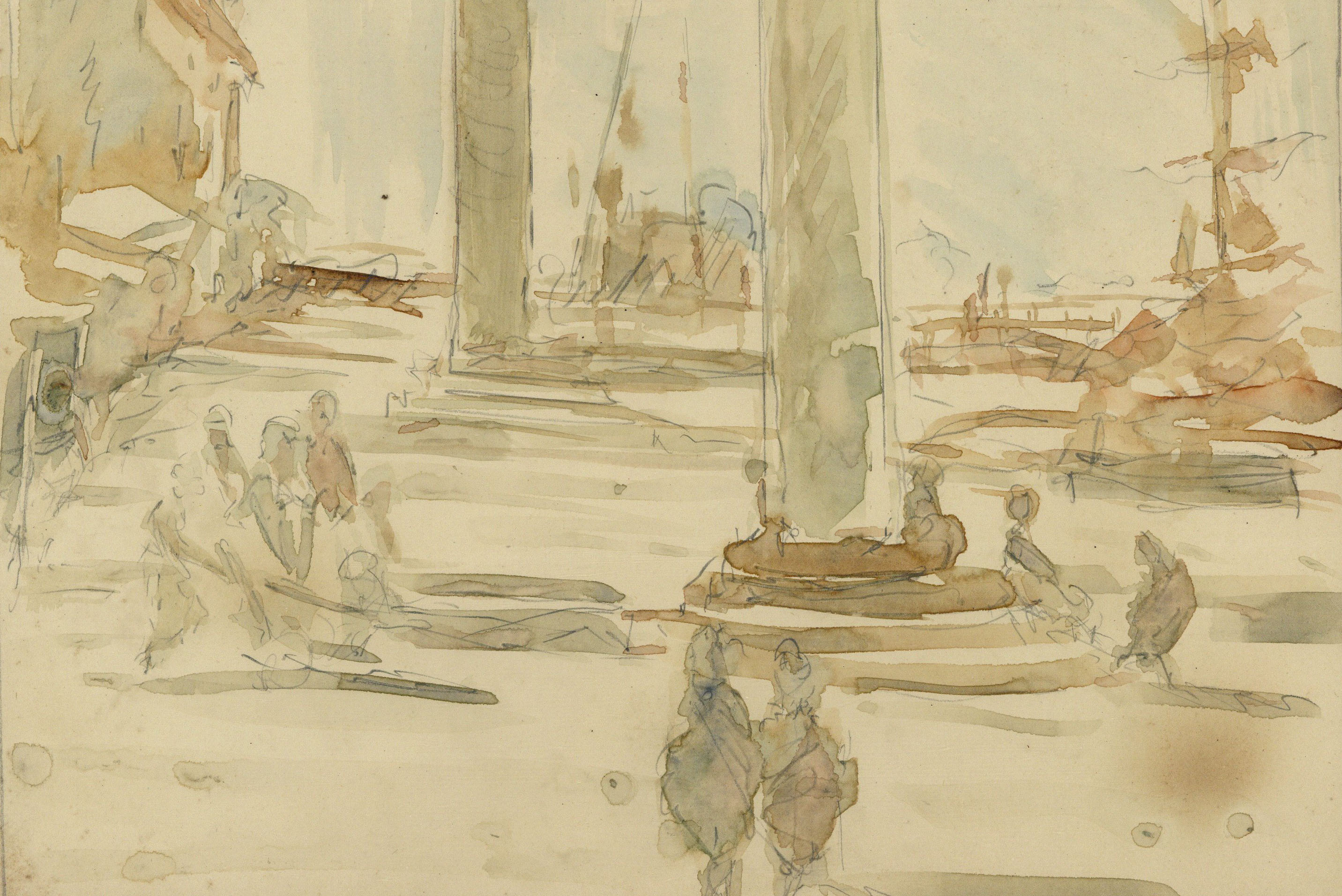 Pre-Raphaelite Drawing of Columns of St. Theodore & St. Mark, Piazza San Marco, Venice, Italy for sale