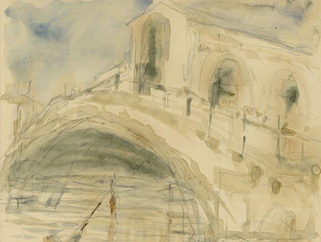 Pre-Raphaelite Drawing of a Gondola with Rialto Bridge, Venice, Italy for sale