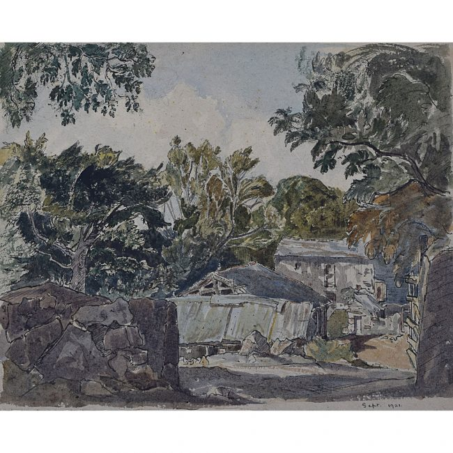 Claude Muncaster Farmstead and Trees watercolour for sale