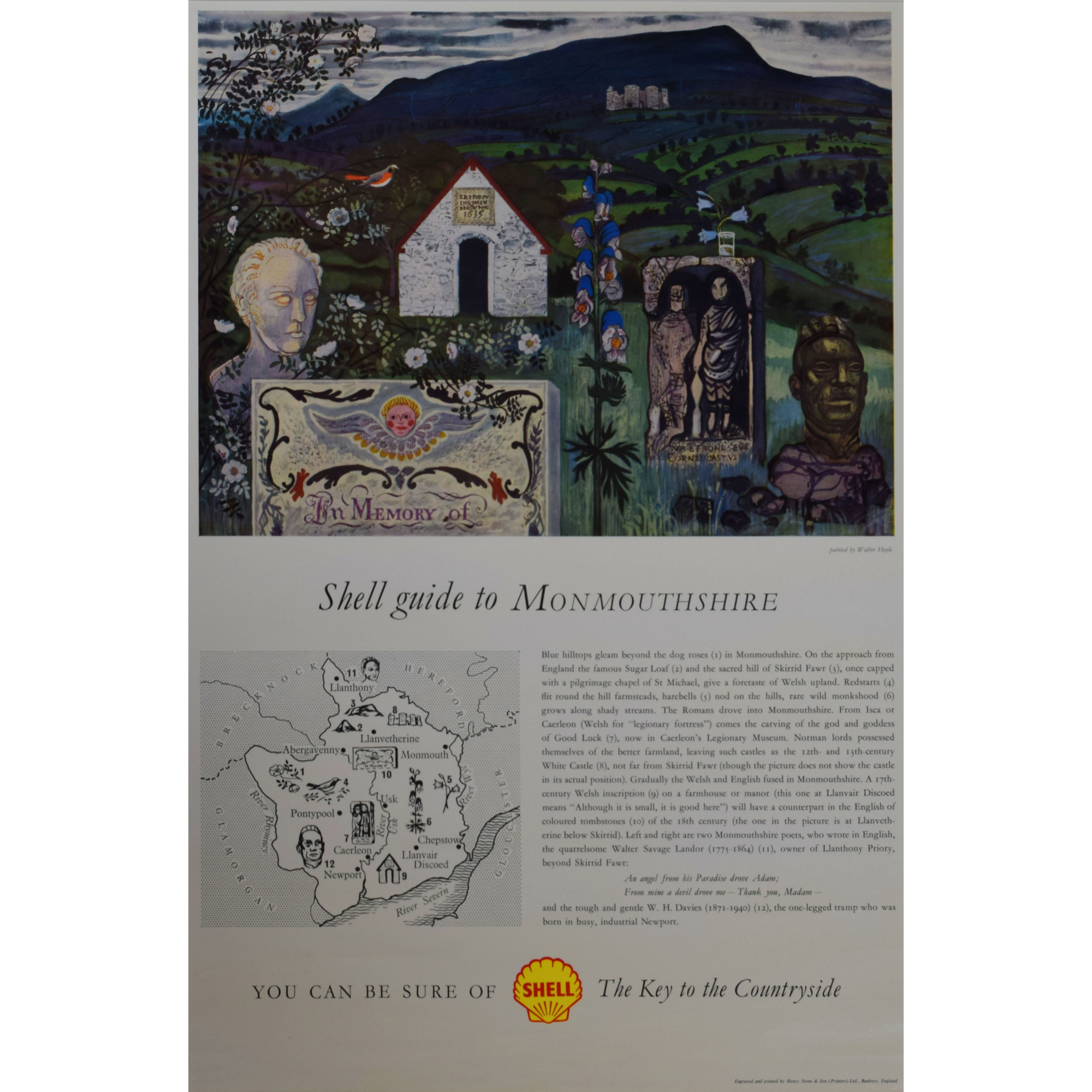 Walter Hoyle Shell Guide to Monmouthshire advertising poster for sale