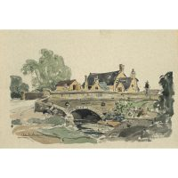 Claude Muncaster South Cerney Gloucestershire The Old George Inn Watercolour for sale