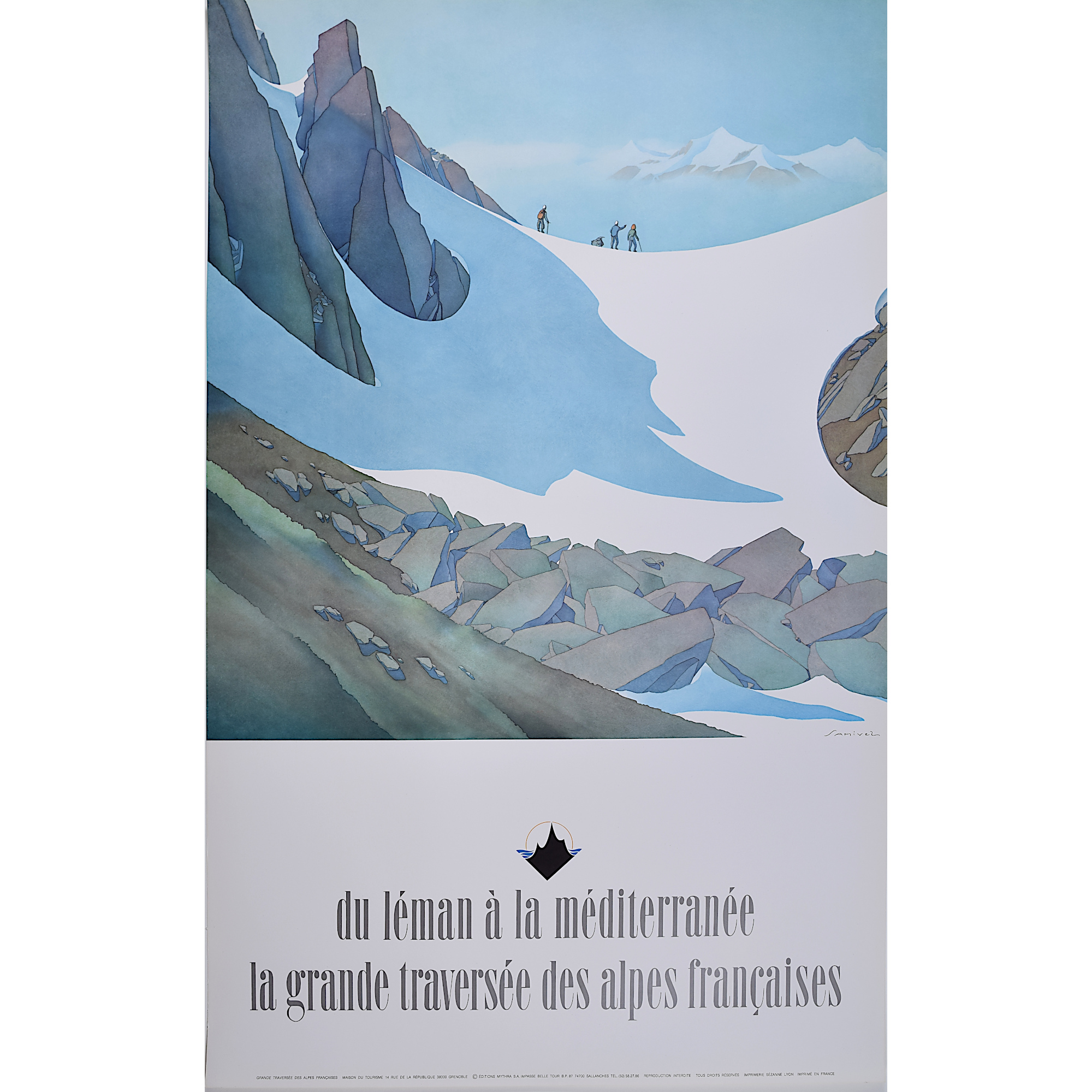 Samivel du Leman skiing poster for sale