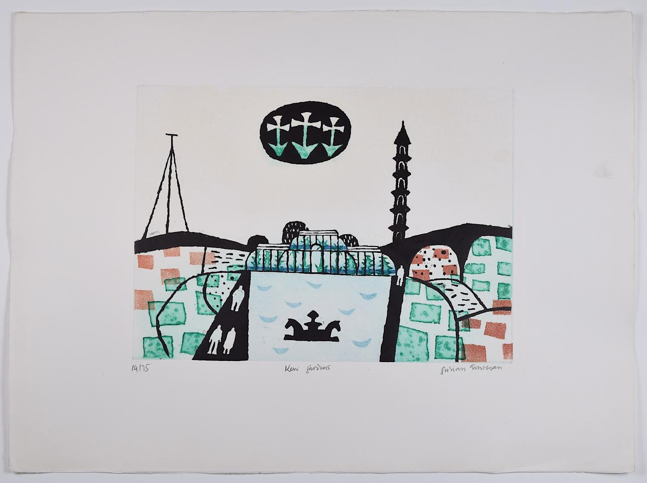 Julian Trevelyan Kew Gardens etching aquatint print for sale