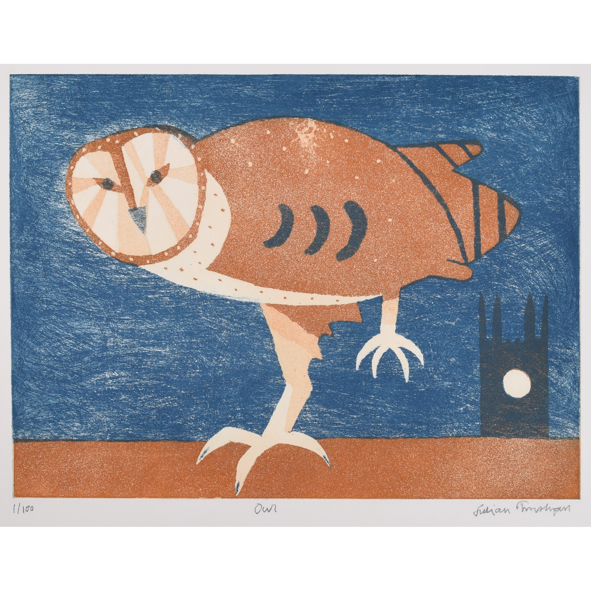 Julian Trevelyan Owl print etching aquatint for sale