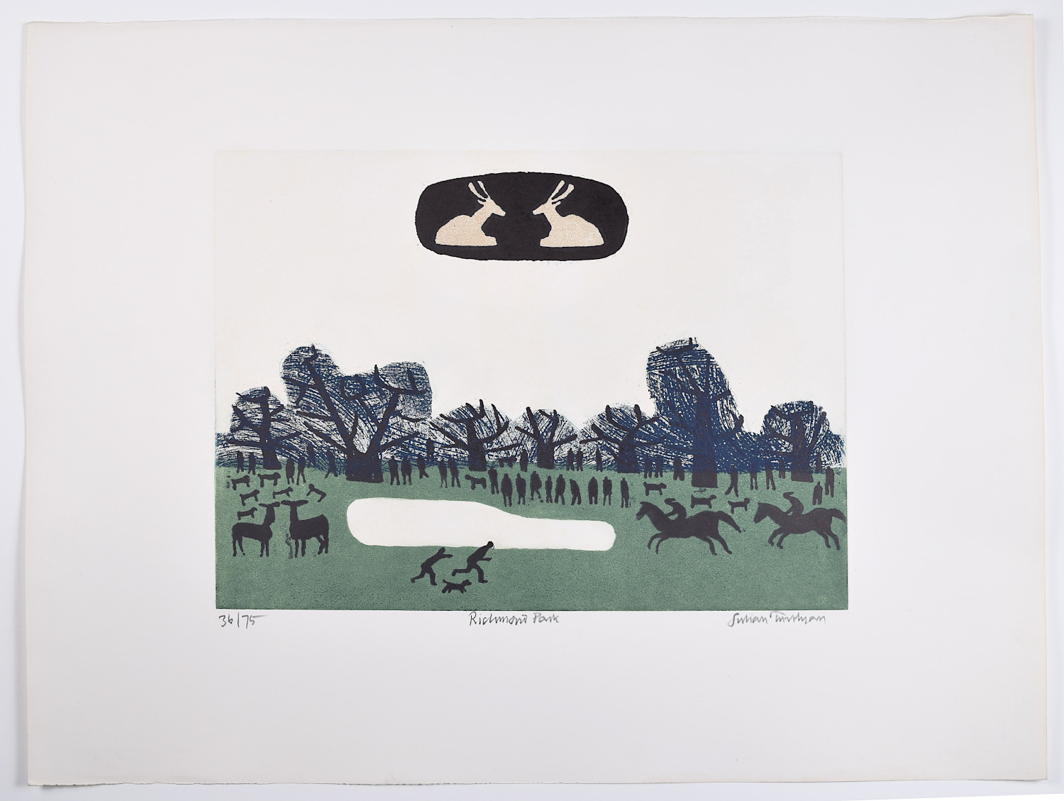 Julian Trevelyan Richmond Park Thames Suite etching print for sale