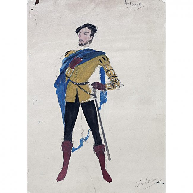Doris Zinkeisen Original Costume Design for Antonio for Twelfth Night for 1942 ballet tour for sale