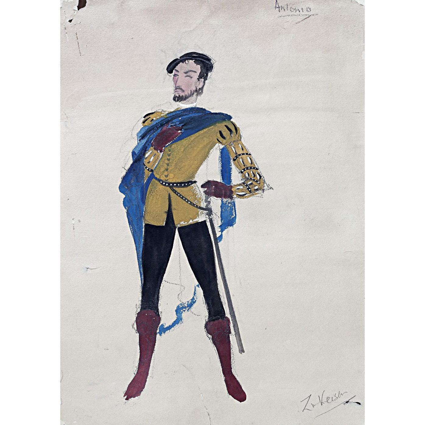 Doris Zinkeisen Original Costume Design for Antonio for Twelfth Night for 1942 ballet tour for sale