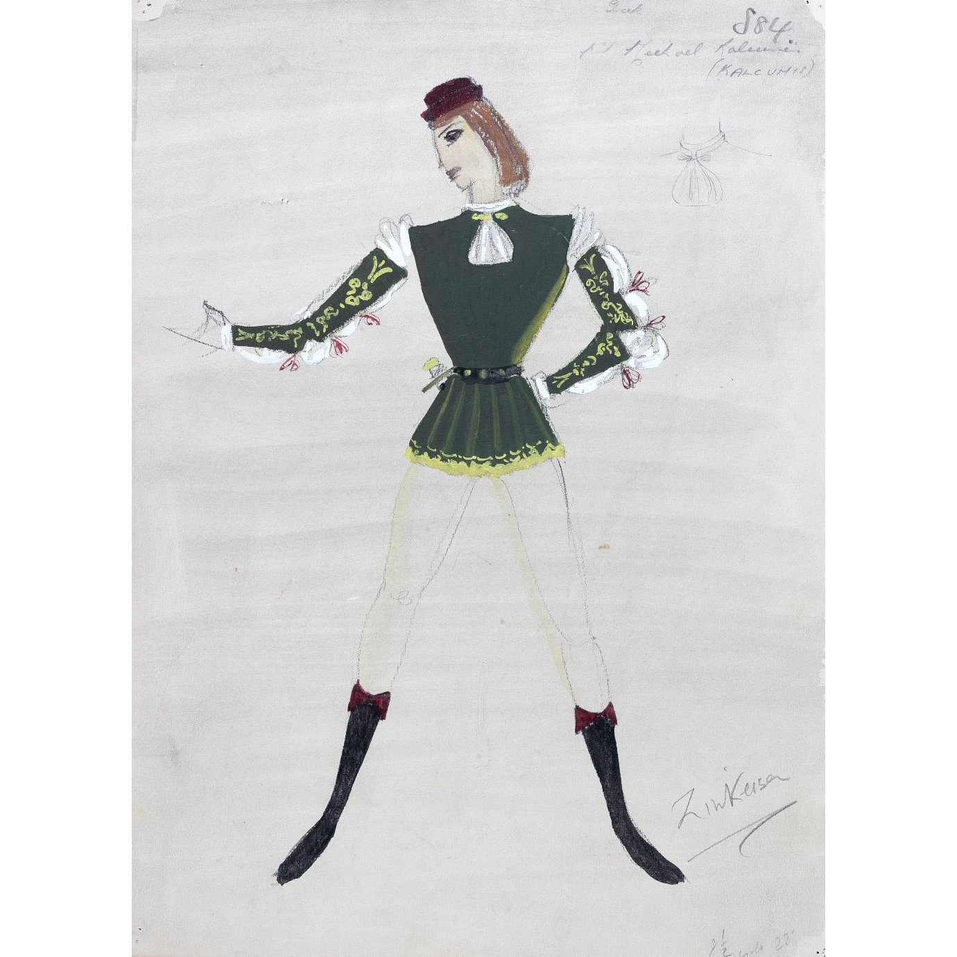 Doris Zinkeisen Original Costume Design for Twelfth Night for 1942 ballet tour for sale