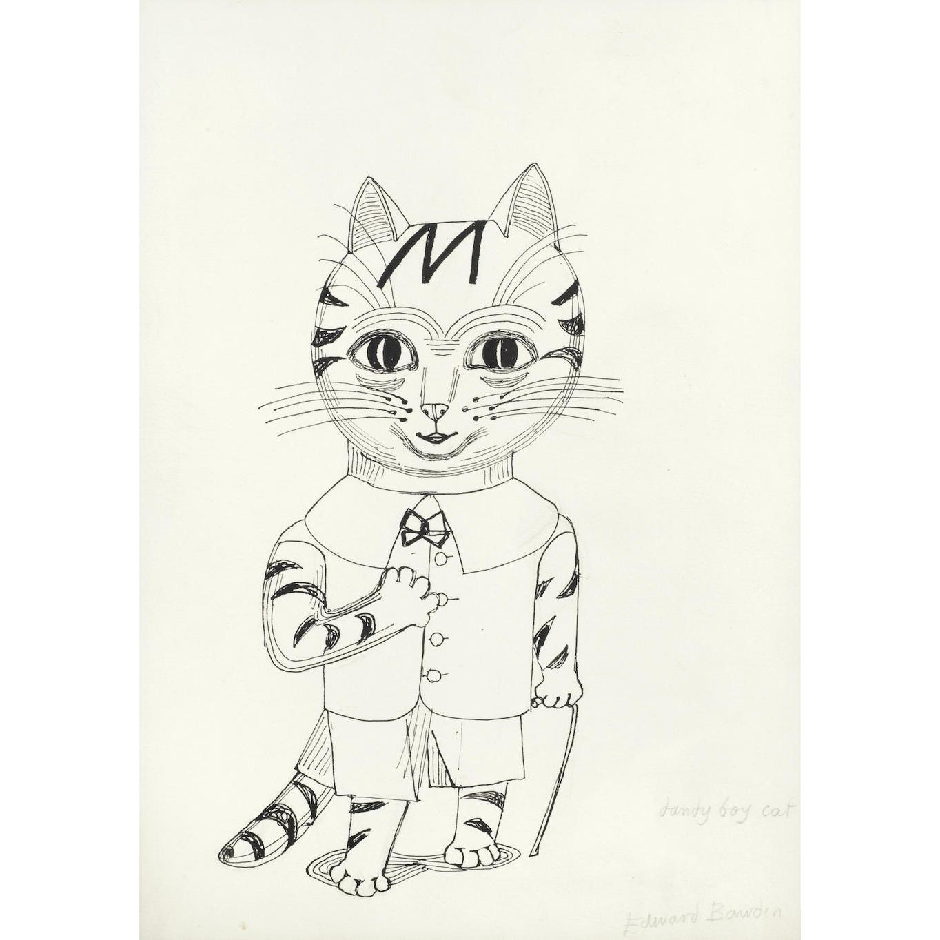 Edward Bawden Dandy Boy Cat drawing