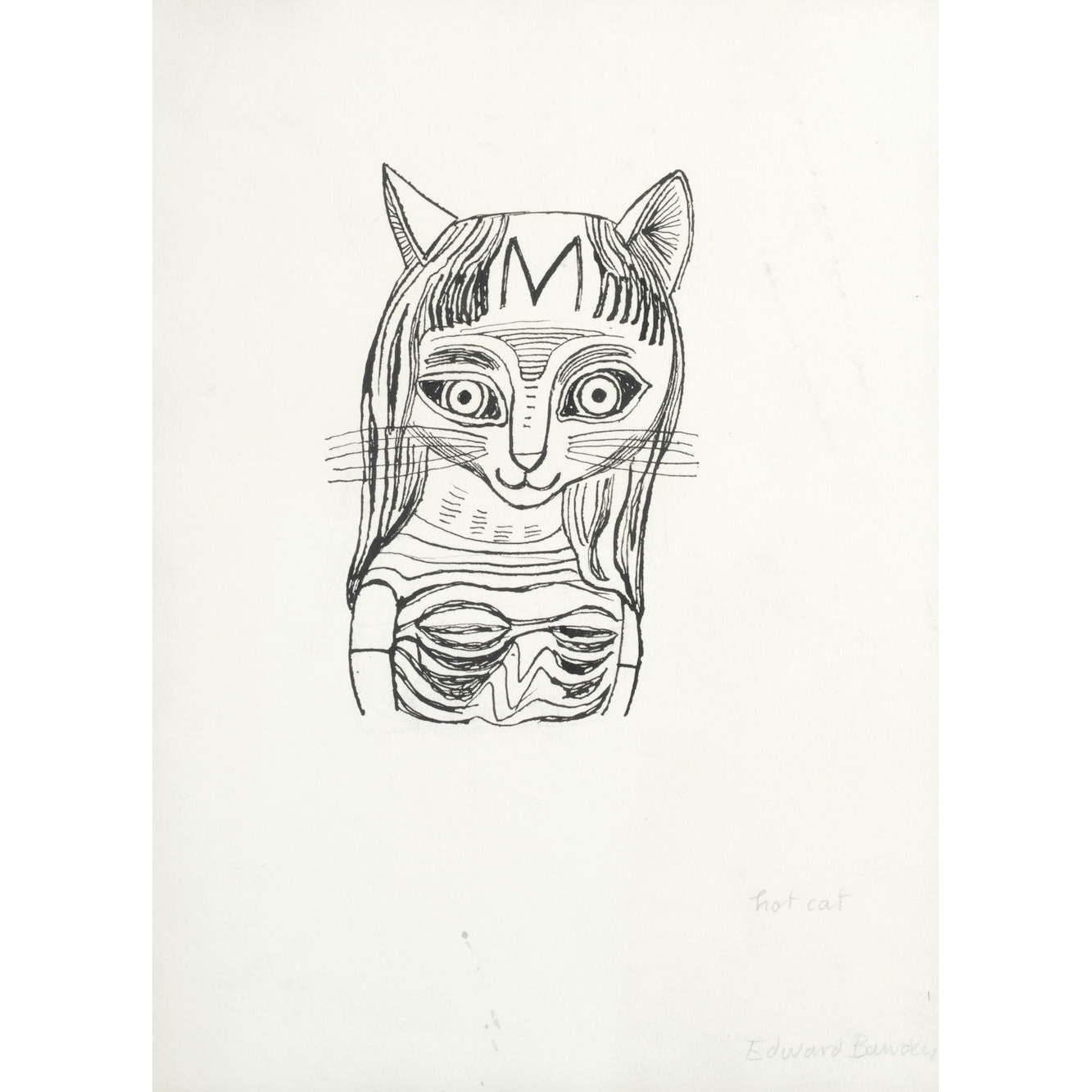 Edward Bawden Hot Cat drawing