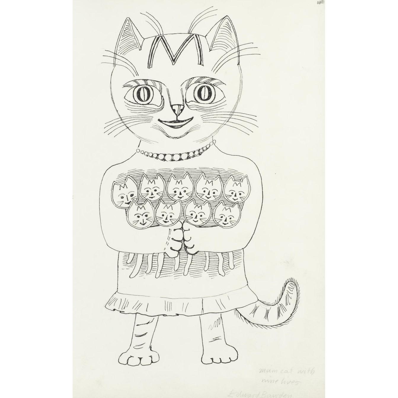 Edward Bawden Mum Cat with Nine Lives