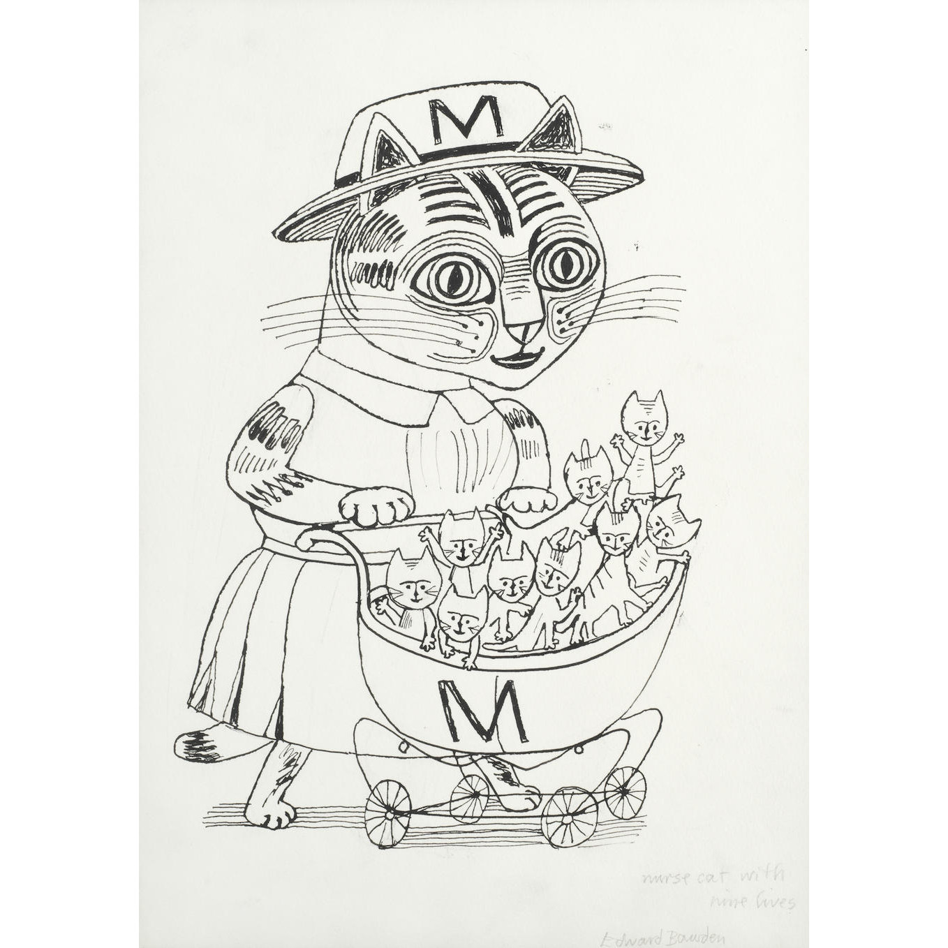 Edward Bawden Nurse Cat with Nine Lives