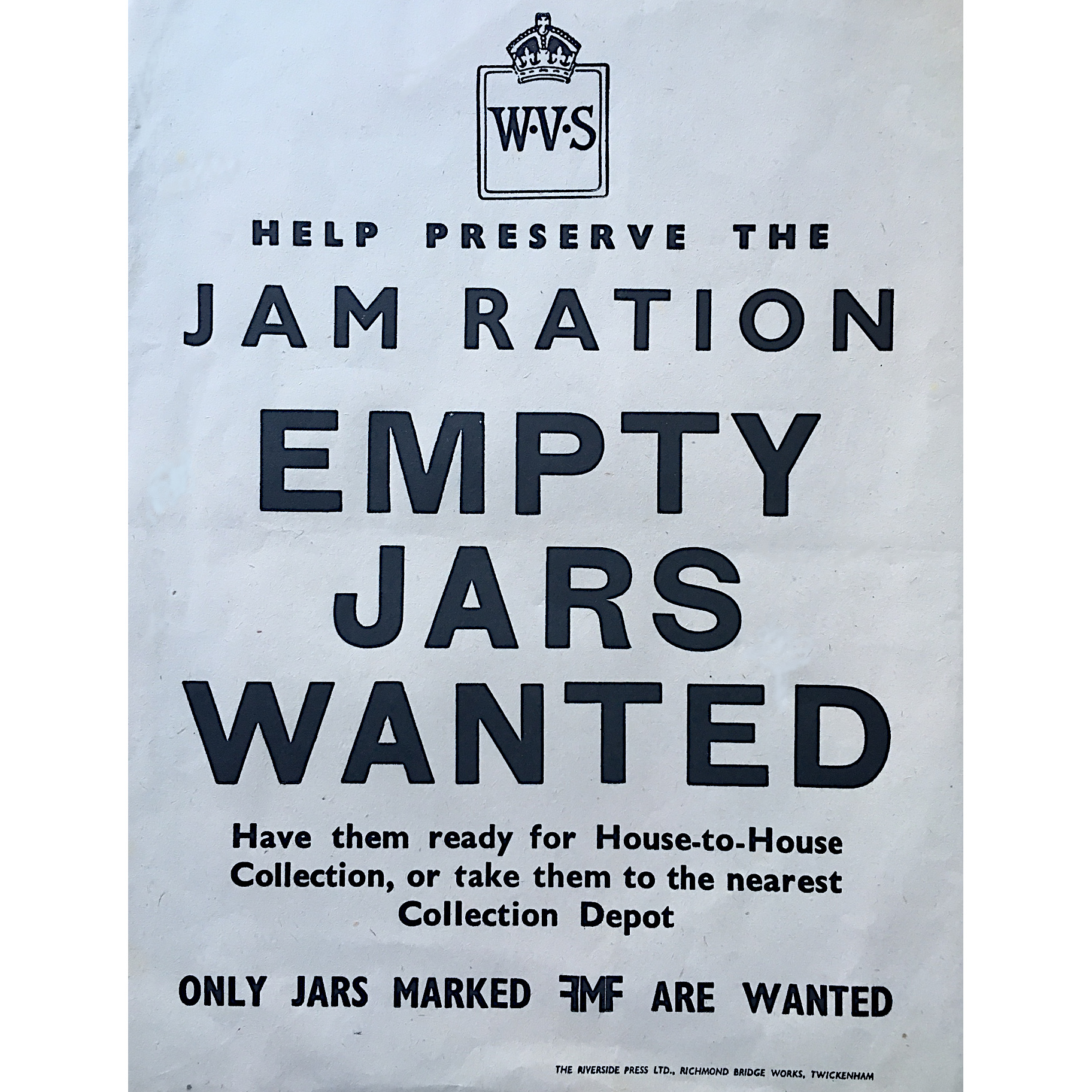 Empty Jam Jars Bake Off Original WW2 poster