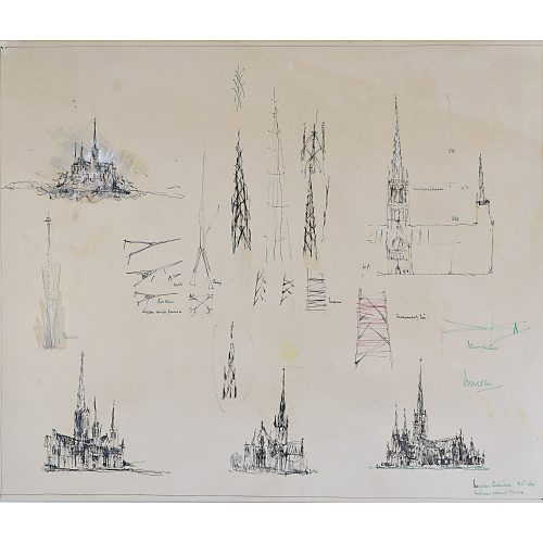 Louis Osman Norwich Cathedral architectural drawing
