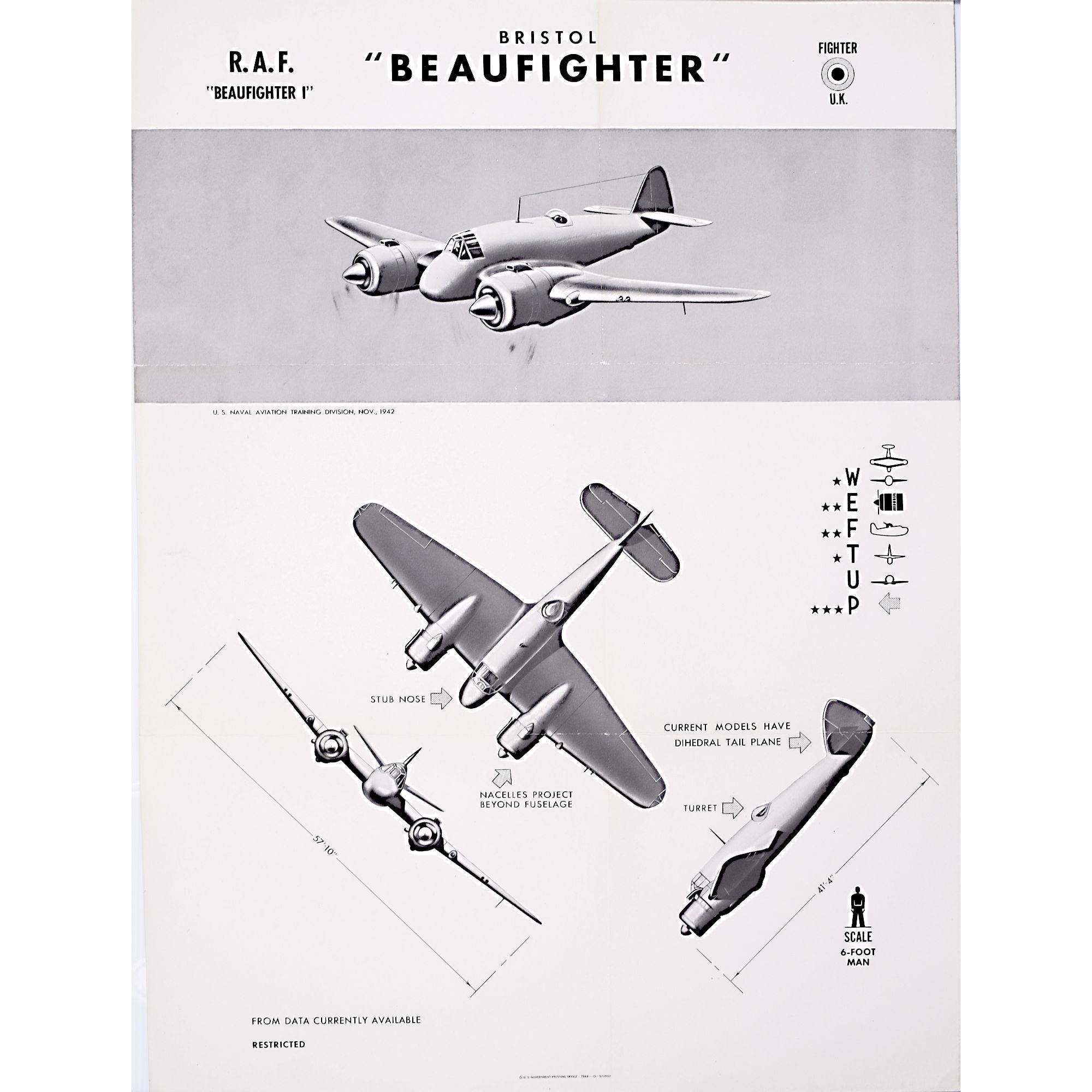 Bristol Beaufighter WW2 original aircraft recognition poster