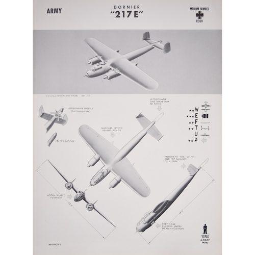 Dornier Do 217 airplane recogntion poster WW2