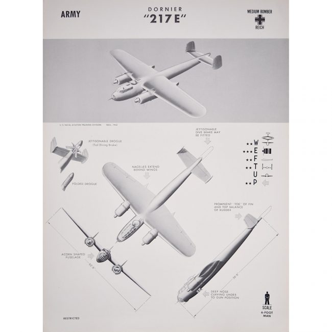 Dornier Do 217 airplane recogntion poster WW2
