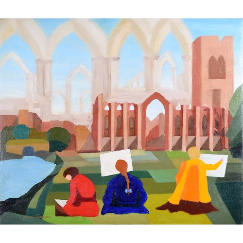 James Gowan Fountains Abbey oil painting
