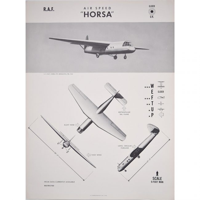 Airspeed Horsa Glider aeroplane Recogntion poster