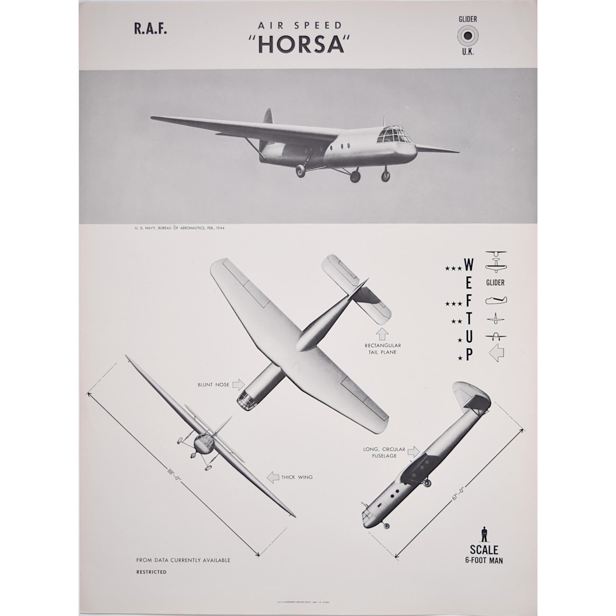 Airspeed Horsa Glider aeroplane Recogntion poster