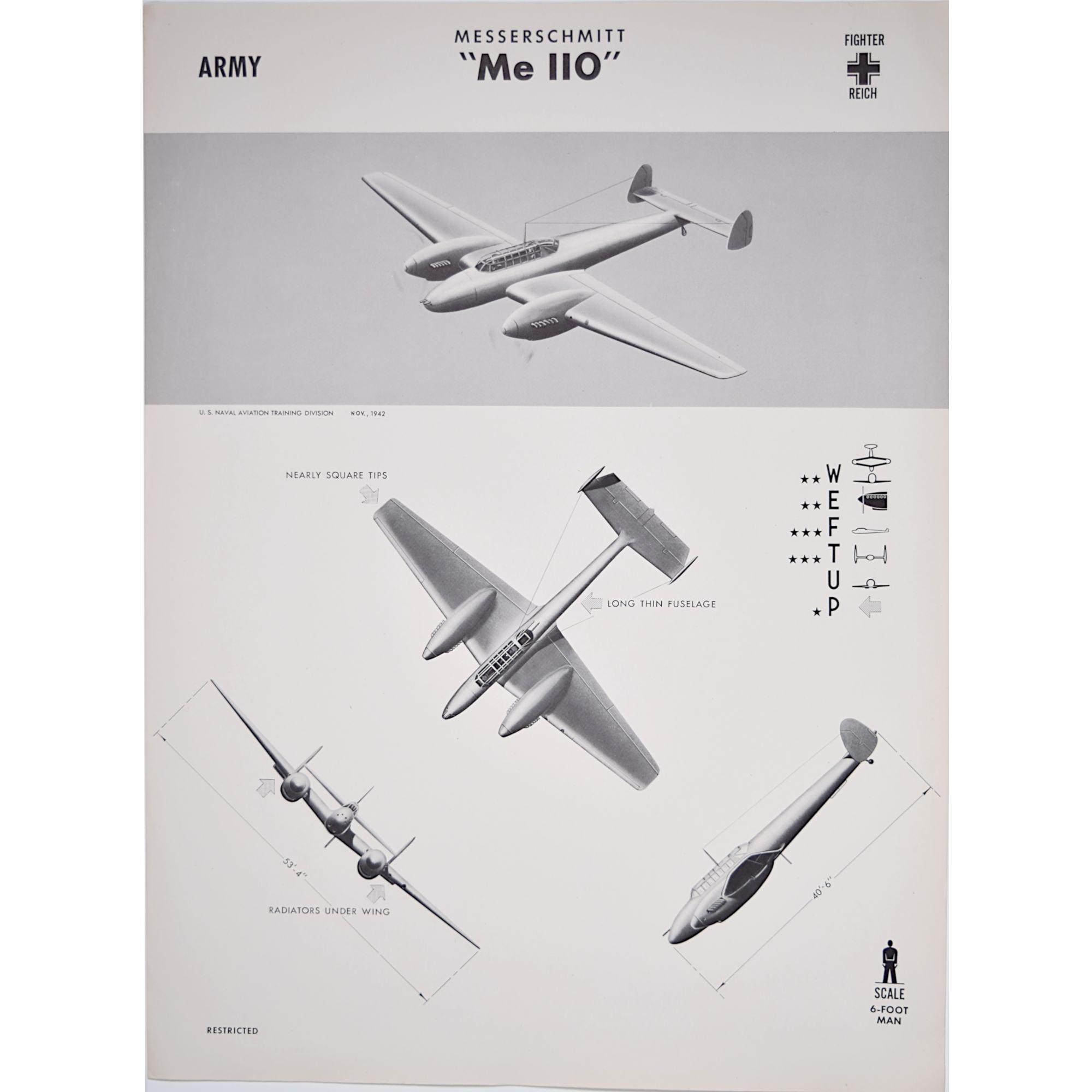 Messerschmitt Me 110 aircarft recognition poster