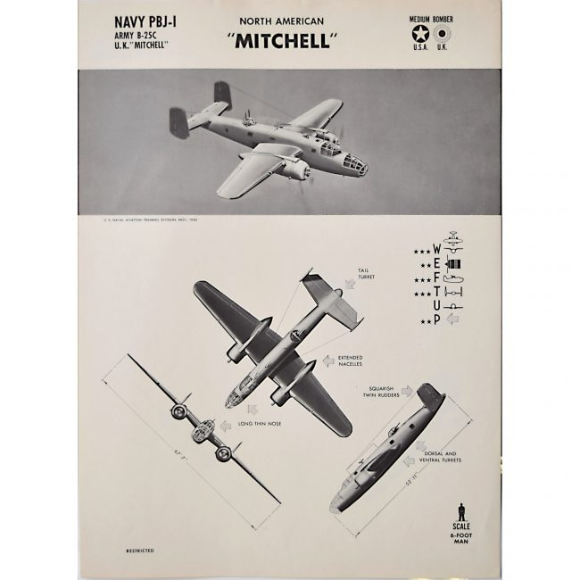 B-25 Bomber North American Mitchell original aircraft recognition poster