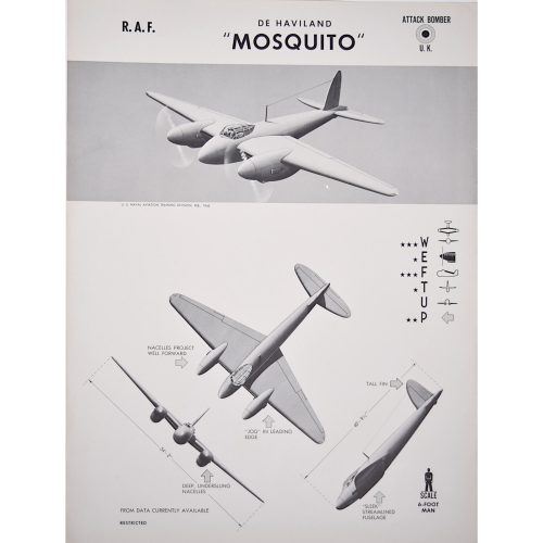 DH Mosquito RAF fighter bomber original aircraft recognition poster WW2