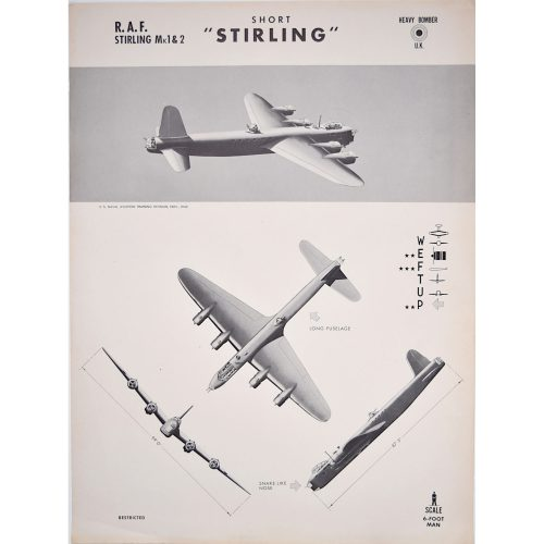Short Stirling heavy bomber aircraft recognition poster WW2