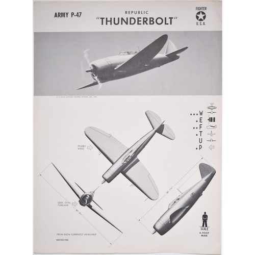 Republic P47 Thunderbolt aircraft recognition poster WW2