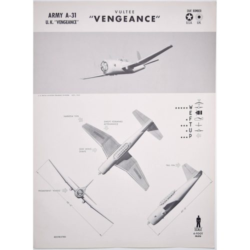 Vultee Vengeance dive bomber WW2 recognition poster