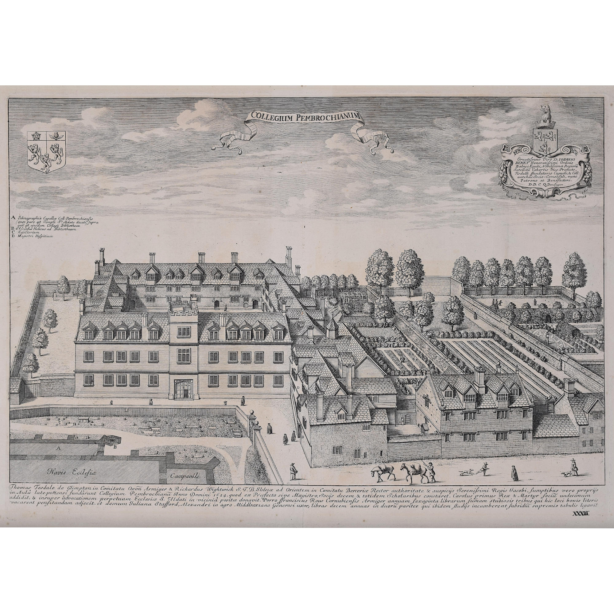 David Loggan Pembroke College Oxford engraving