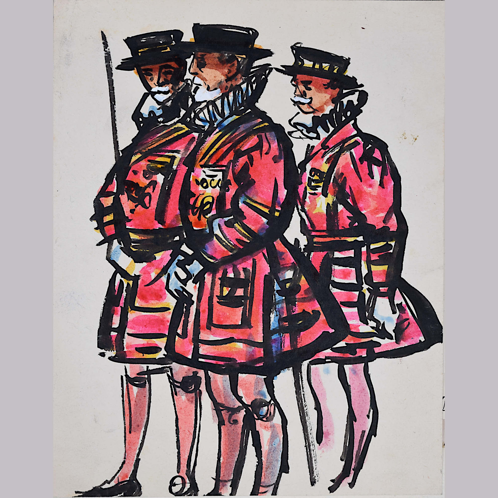Peter Collins Beefeaters watercolour Tower of London