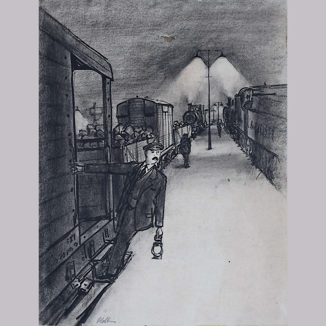 Peter Collins The Railway Station Platform with Steam Trains Engines c1950s