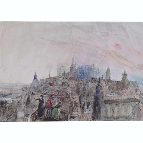 Sir Albert Richardson Dawn of the Renaissance a caprice watercolour for sale