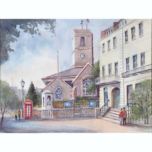 Angela Stones Chelsea Old Church watercolour for sale