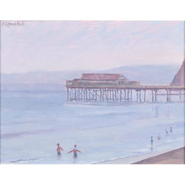 Clifford Hall Pier and Beach oil painting for sale