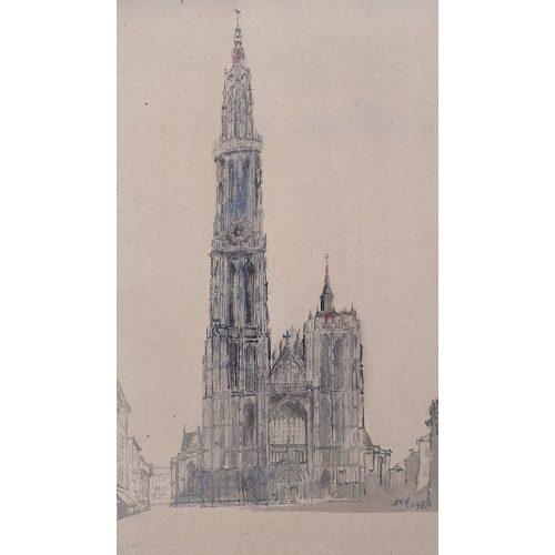 Albert Richardson Antwerp Cathedral watercolour