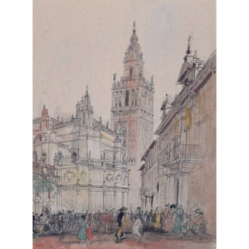 Sir Albert Richardson La Giralda Seville watercolour for sale