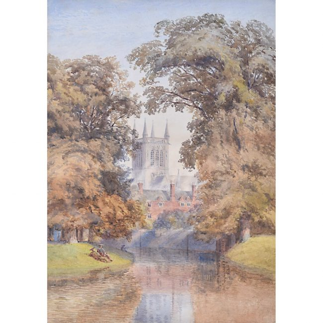 Anon St John's Chapel from the river, scholars before watercolour