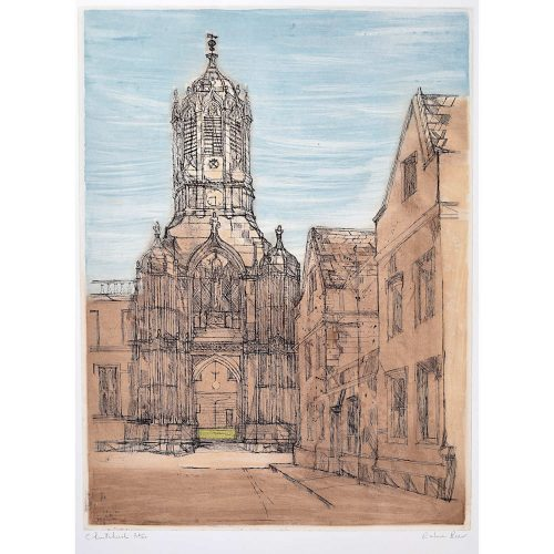 Richard Beer Christchurch Oxford College signed print 1965