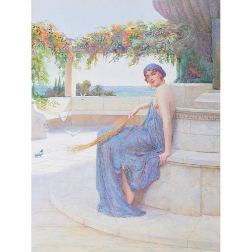 William Ashburner Maiden in a Classical Garden watercolour