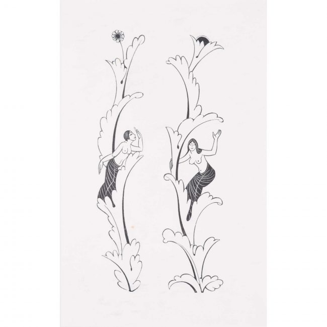 Eric Gill Canterbury Tales Border Woodblock Print Two Nudes i