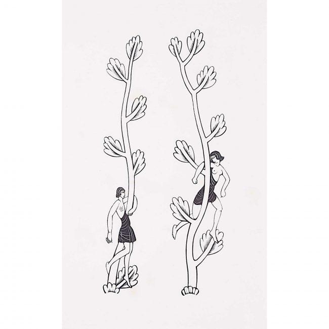 Eric Gill Canterbury Tales Border Woodblock Print Two Nudes ii