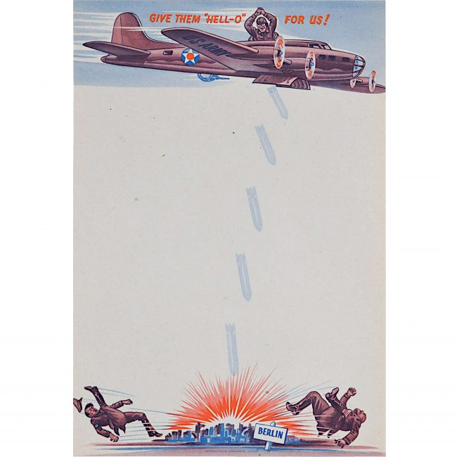 1942 World War 2 American Propaganda writing paper Porto Service Chicago poster