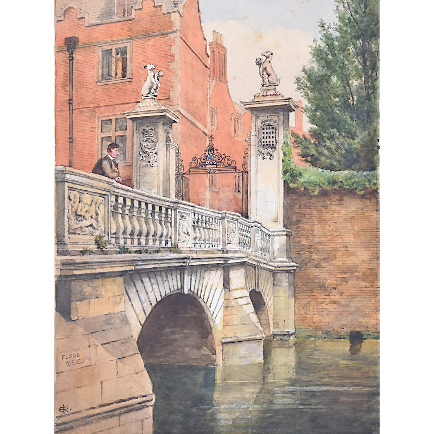 St John's College Cambridge Edwardian watercolour Wren Bridge River Cam c. 1900