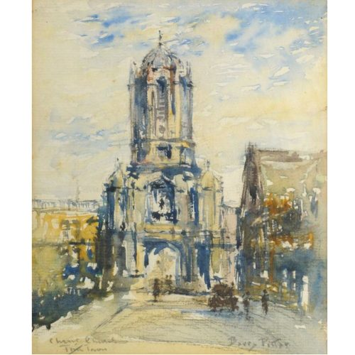 Tom Tower, Christ Church Oxford College J F Barry Pittar RBA watercolour art