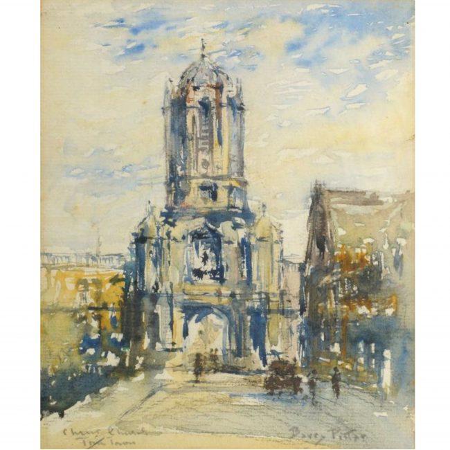 Tom Tower, Christ Church Oxford College J F Barry Pittar RBA watercolour art