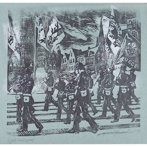 Percy Drake Brookshaw Linocut of Marching Band Brugge (on blue)