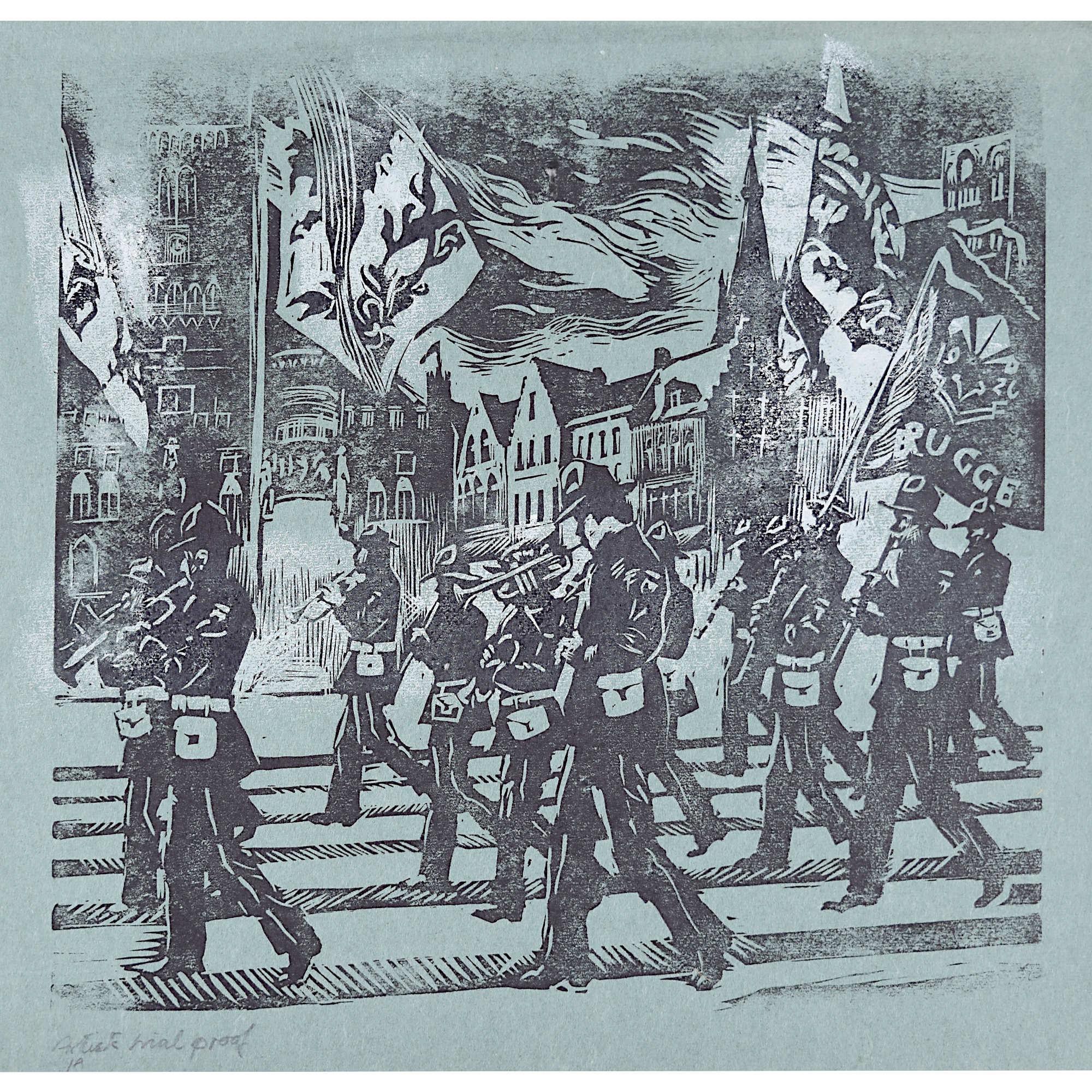 Percy Drake Brookshaw Linocut of Marching Band Brugge (on blue)