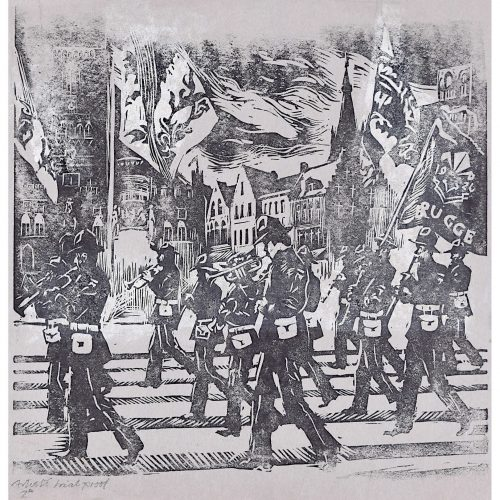 Percy Drake Brookshaw Linocut of Marching Band Brugge (on grey)